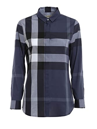 BURBERRY Women s Dusty Blue Long Sleeve Check Cotton Button Down Shirt  (Medium) 55c4c449ca