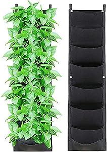 X XBEN Vertical Hanging Wall Planters Indoor, Updated Leather Waterproof 7 Pockets Wall Mount Planter for Garden, Outdoor, Balcony, Living Room, Patio (2020)