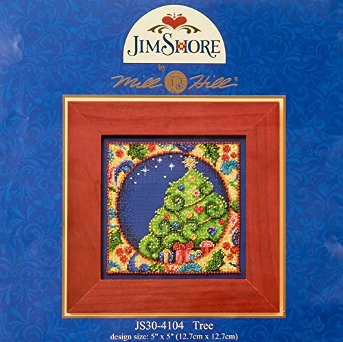 Mill Hill Jim Shore Tree Counted Cross Stitch Kit, 5 by 5-Inch (Stitch Shore Jim Cross)