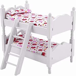 iLAZ 1:12 Scale Dollhouse Furniture Miniature Mini Bunk Bed - Stawberry for Doll House, Miniature Accessory Kids Pretend Toy, Creative Birthday Handcraft Gift