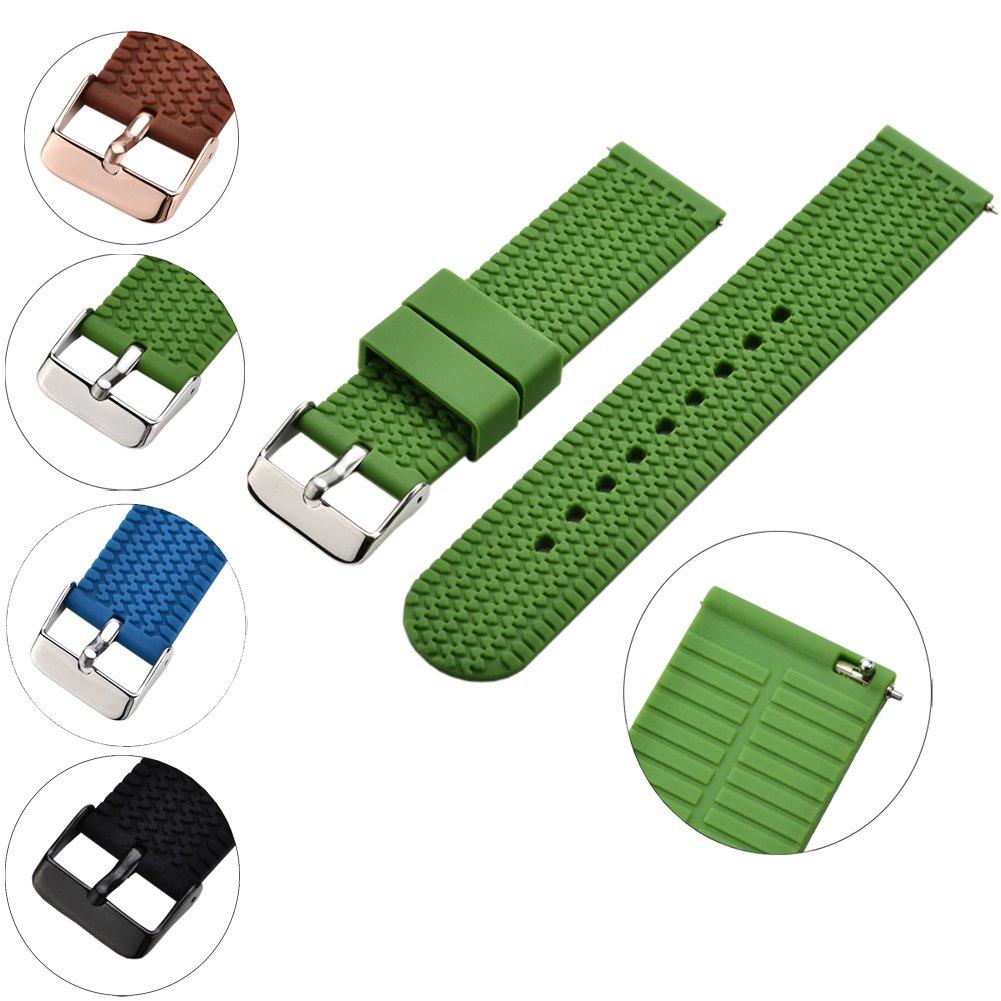 xiangmiシリコン交換用時計バンド、クイックリリースソフトゴム製ストラップ – 防水、テクスチャ – タイヤパターンの色の選択、18、20 & 22 mm腕時計ストラップ 20mm|グリーン グリーン 20mm B072KJPH6G