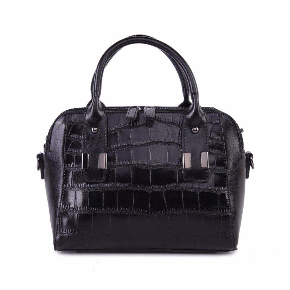 WanJiaMen'Shop Solo Hombro de Cuero Cruz Oblicua Bolsa Bolsa Ganado Moda Cruz Oblicua Bag Bolso, 26  20  13cm, Negro