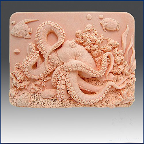 Octopus on Coral Reef - Soap/candle/polymer/clay/cold Porcelain 2d Silicone -