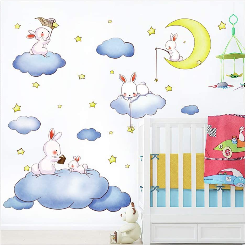 Bunny Wall Stickers Rabbits Wall Decals, Set of 5 Rabbits with Moon Star Cloud, Easter Holiday Wall Stickers Decor Bedroom Removable Vinyl Art Mural Decals for Girls Nursery