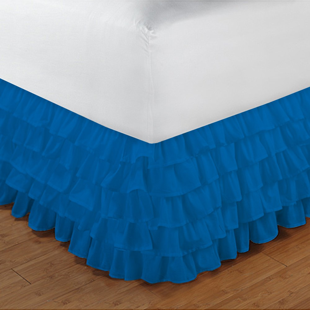 Relaxare Full XXL 300TC 100% Egyptian Cotton Turquoise Blue Solid 1PCs Multi Ruffle Bedskirt Solid (Drop Length: 10 inches) - Ultra Soft Breathable Premium Fabric