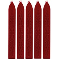 becoler 5pcs clásico sello de cera de sellado de cera sello Stick para lacrar, diseño retro, rojo vino, 1
