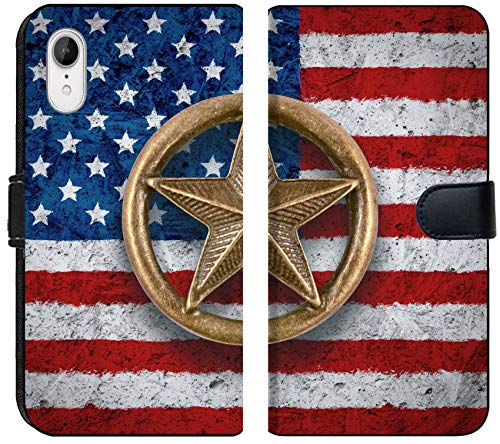Apple iPhone XR Flip Fabric Wallet Case Image 34200089 Bronze Star Symbol on The Flag of The United States Background