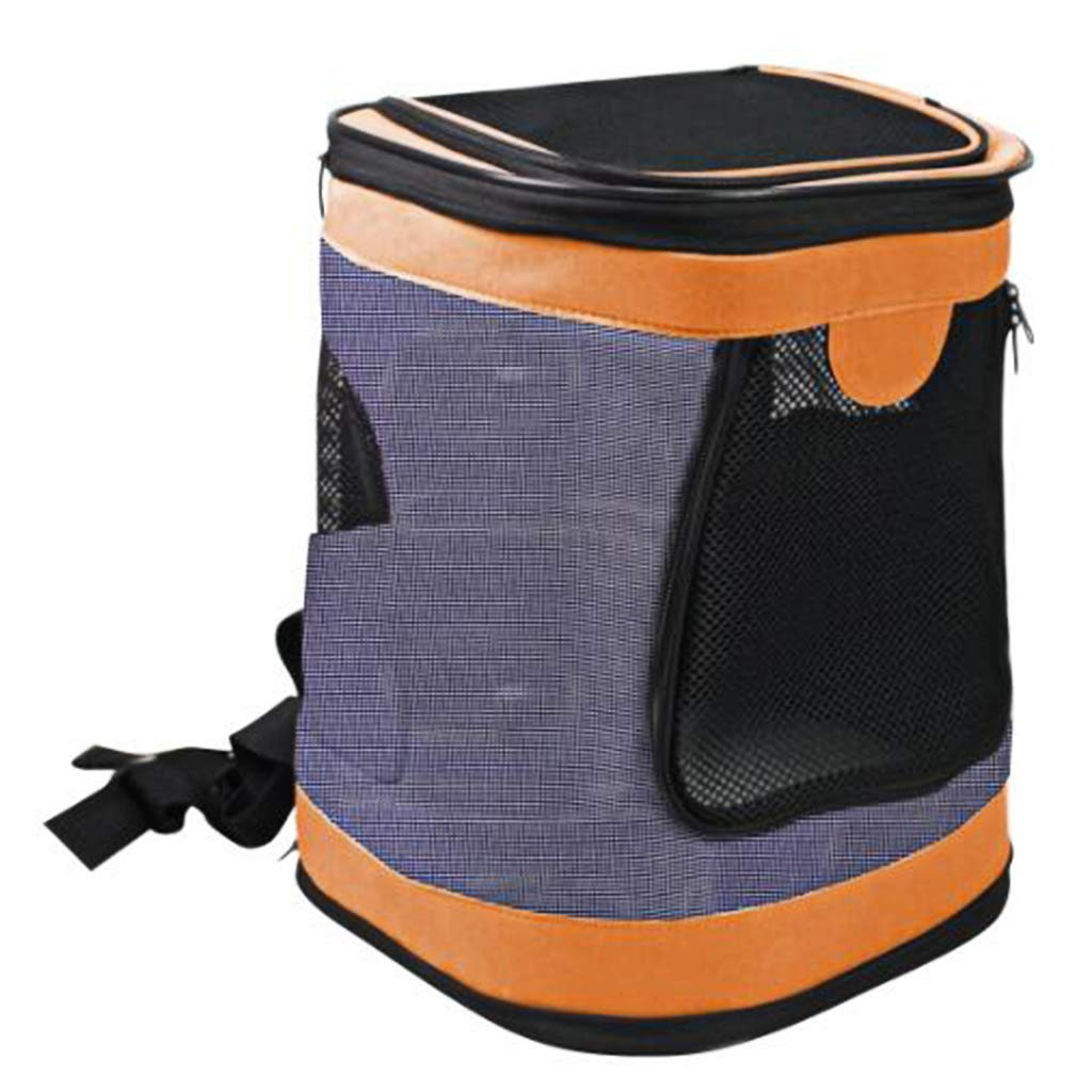 orange JimTw-UK Dogs Backpack Carrier Foldable Waterproof Pet Rucksack Puppy Cat Soft Sided Travel Bag Padded Top Open Breathable Mesh Waist Strap