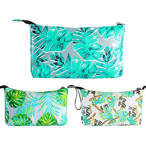 (3PCS Cosmetic Bag Waterproof Fabric Toiletry Kit Makeup Pouch for Women with Zipper for Travel)