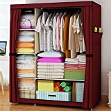Portable Double Closet Storage Organizer Wardrobe Clothes Rack with Shelves, Fully-enclosed with Side Pockets