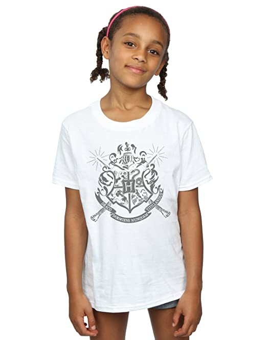 93d884174 HARRY POTTER niñas Hogwarts Badge Wands Camiseta  Amazon.es  Ropa y  accesorios