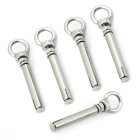 Yasorn 5-pack Anillo de acero inoxidable tornillos de cáncamo de expansión Tornillo Tornillo M6x70mm