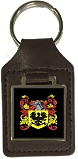 Mulford Family Crest Surname Coat of Arms Brown Leather Keyring Engraved
