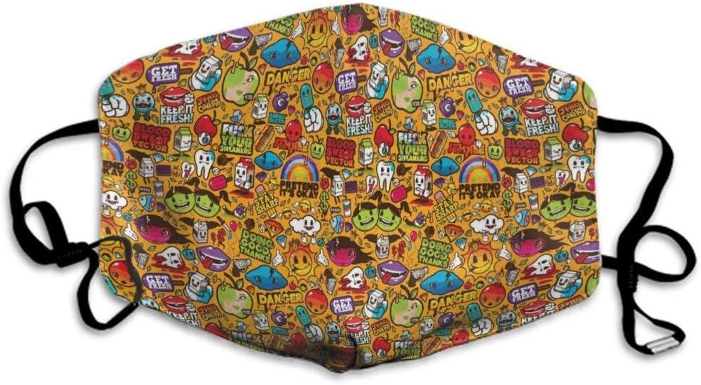 Ma-scarillas Cubierta de protección respiratoria Reutilizable Lavable de Seguridad Unisex para Cubierta bucal Antipolvo, diseño de Dibujos Animados Trippy