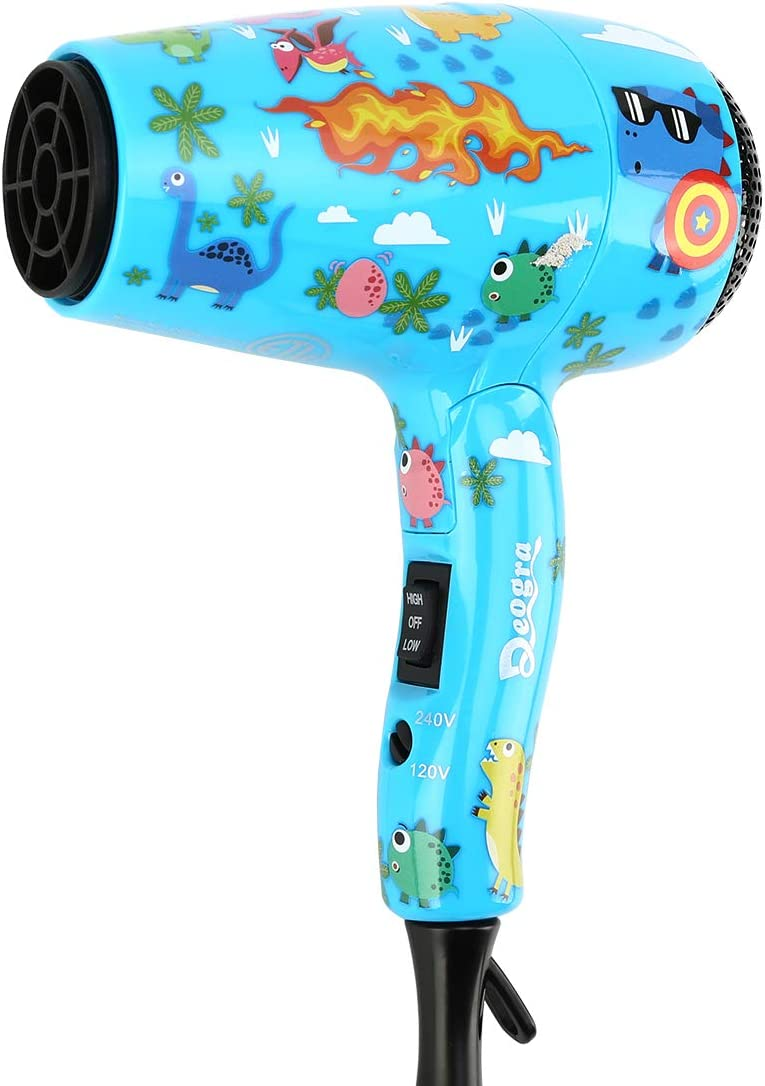 Deogra 1000W Childrens Hair Dryer Cute Travel Hair Dryers for Kids with UK Plug Dual Voltage Portable Mini Hair Dryer Incl Concentrator and Diffuser