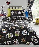 Homespace Direct Sugar Skulls Reversible Boys Duvet Set and 1 Pillowcase, Black, Single