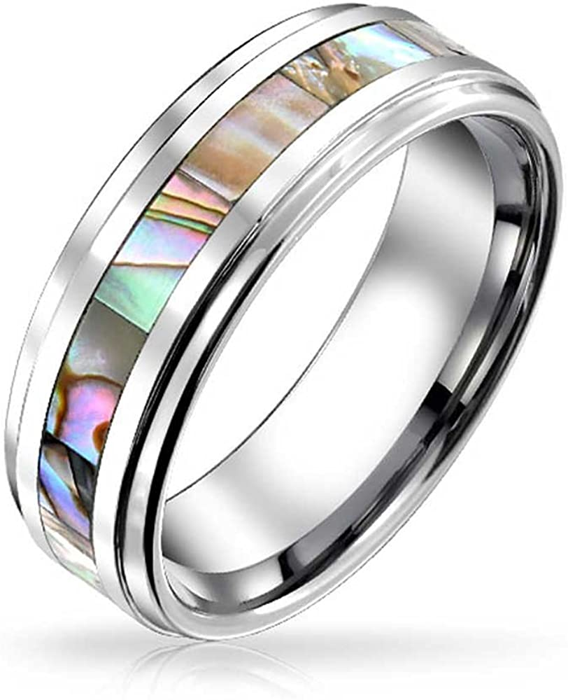 Bling Jewelry Personalized Rainbow Abalone Inlay Couple Titanium Wedding Band Rings/for/Men for Women Comfort Fit 8MM Custom Engraved