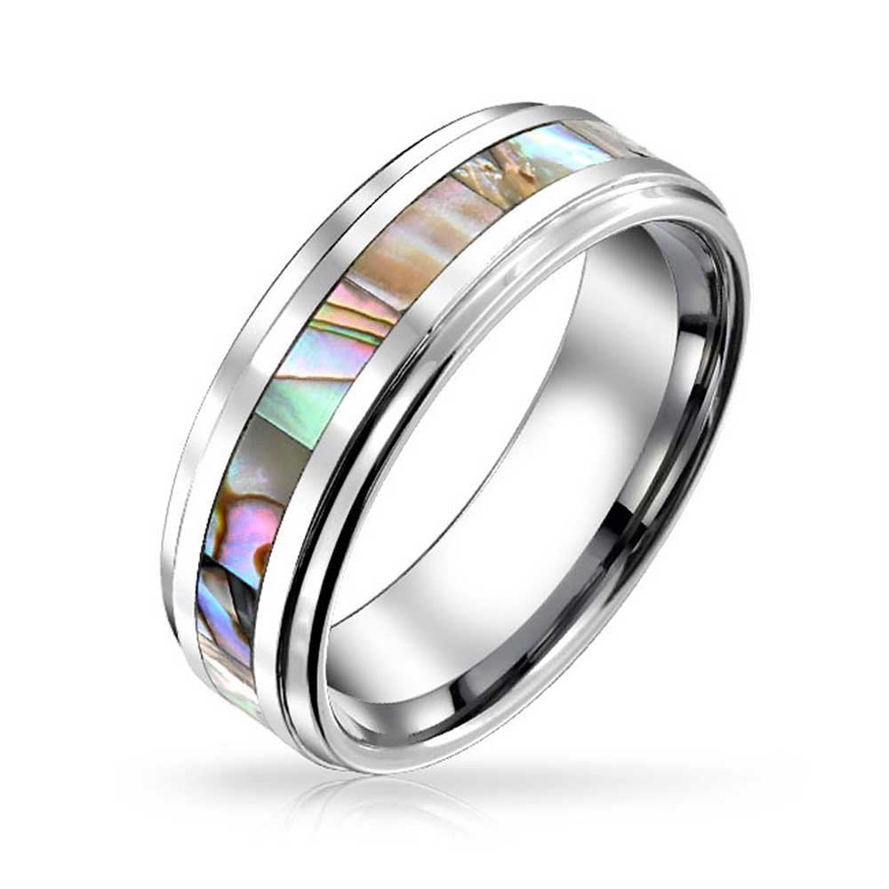 Bling Jewelry Rainbow Abalone Inlay Couples Titanium Wedding Band Rings/ for/ Men for Women Comfort Fit 8MM