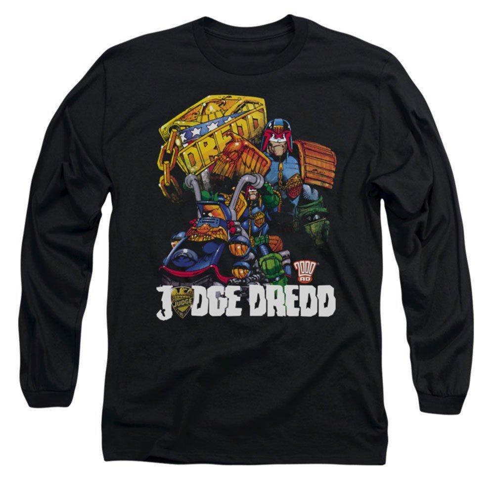 Judge Dredd Comic Bike and Badge Licensed Adult Long Sleeve T-Shirt S-3XL