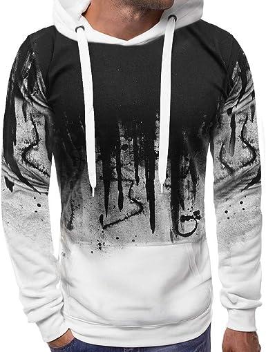 LANSKIRT Sudaderas Hombre Deportivas Camisa Estampada Sudadera con Capucha de Manga Larga Color Degradado Ropa de Otoño Hombres Abrigos Camiseta Sweatshirt Hooded M-3XL: Amazon.es: Ropa y accesorios