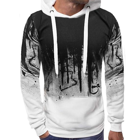 Otoño Invierno Empalme Manga Larga Ocio Hombres Sudadera con Capucha Sudadera Outwear Blusa de Internet.: Amazon.es: Ropa y accesorios