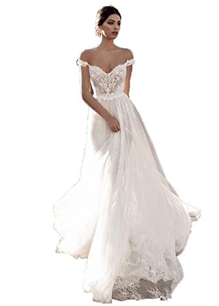 Fanciest Women\'s Off Shoulder Bohemian Wedding Dresses Lace Long ...