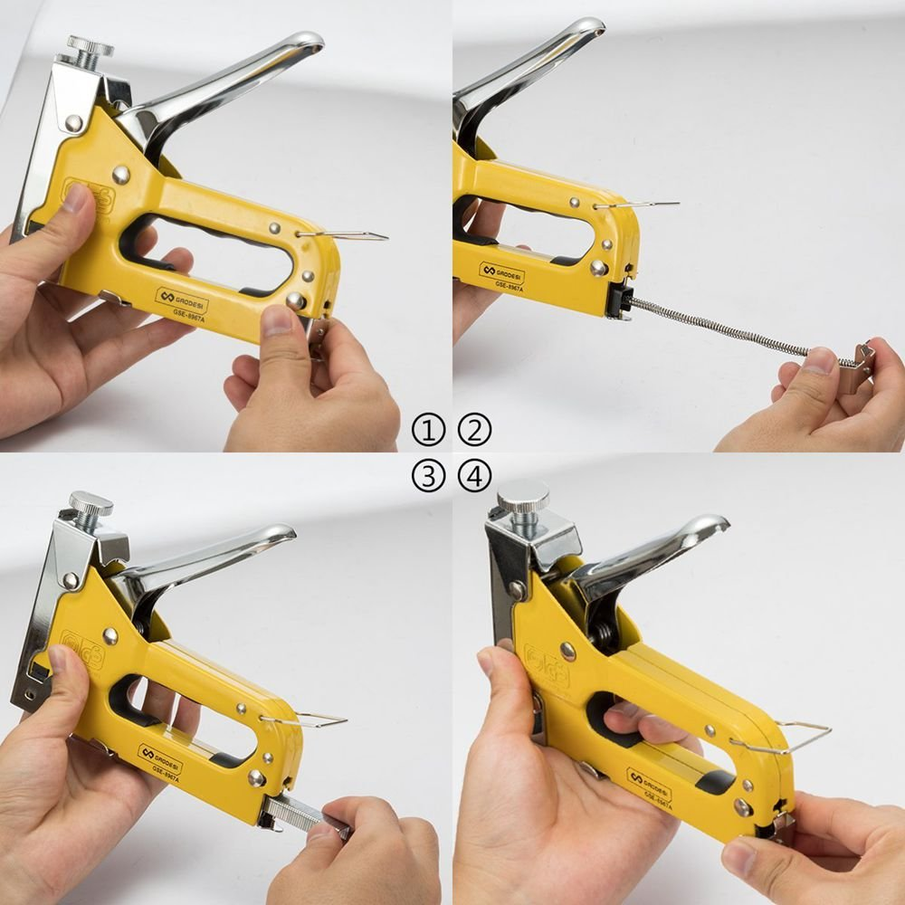 3-in-1 Staple Gun, Hand Operated Heavy Duty Carbon Steel Brad Nail Gun with 1 Staples Gun, 600 PCS Staples for Fixing Material, Decoration, Carpentry, Furniture, Doors and Windows by Enseng (Image #5)