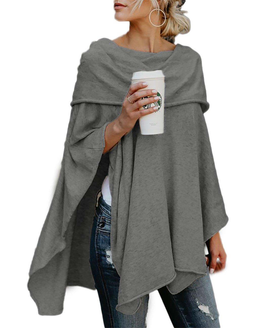 VintageRose Womens Off Shoulder Ruched Irregular Hem Loose Pullover Top Blouse,X-Large,Gray