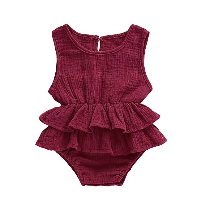 Newborn Baby Girl Ruffle Solid Color Romper Bodysuit Jumpsuit Outfits Sunsuit
