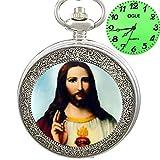 OGLE Jesus Piece Silver Cross Necklace Chain Pendant Luminous Japan Fob Quartz Pocket Watch Box
