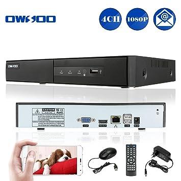 OWSOO 4CH NVR 1080P H.264 P2P CCTV Seguridad Control Móvil Android/iOS Detección de Movimiento Alarma Email para IP Cámara de Vigilancia: Amazon.es: ...