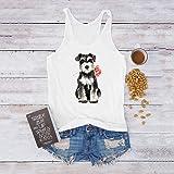 FarJing Women Casual Dog Rose Print Vest Sleeveless