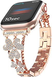 W7ETBEN Bling Metal Bands Compatible with Apple Watch Band 42mm 44mm, Women Luxury Diamond Bling Crystal Stainless Replacement Strap for iWatch Band Series 6 5 4 3 2 1 (Rose Gold, 44/42mm)