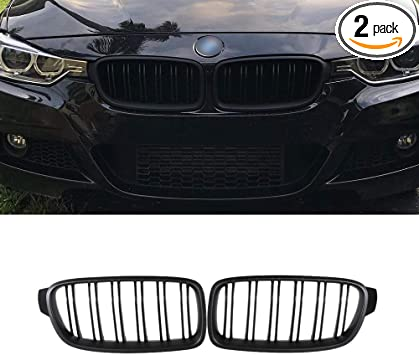 SNA ABS F30 Grill Front Kidney Grille for 2012-2018 BMW 3 Series F30 F31 Double Slats Matte Black Grill, 2-pc Set