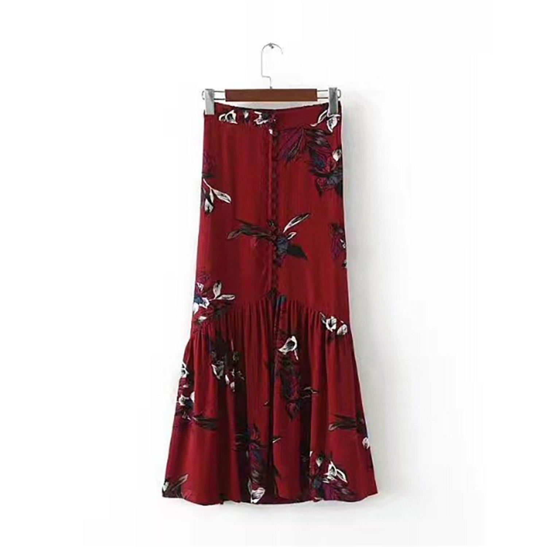 24a9adbdd9 Elegant Boho Long Skirts Lolita Split Maxi Skirt Button Slit Floral Ruffles  New Spring Summer Women Beach Skirts at Amazon Women's Clothing store: