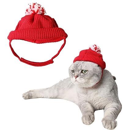 Kindred Gorro de punto para gatos y perros pequeños, diseño navideño