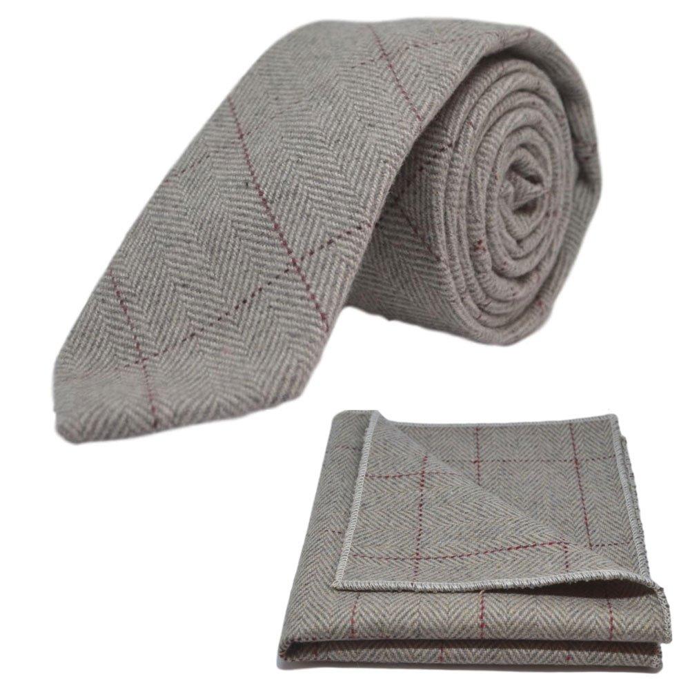 Light Grey Herringbone Necktie /& Pocket Square Set