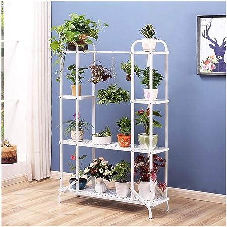 Plant Stand 4-Capa de Hierro Fundido Flor del Soporte de exhibición Moderna Simplicidad de Flores Soportes for el jardín de la Sala Dormitorio, 148cmx100cmx32cm (Color : White): Amazon.es: Hogar