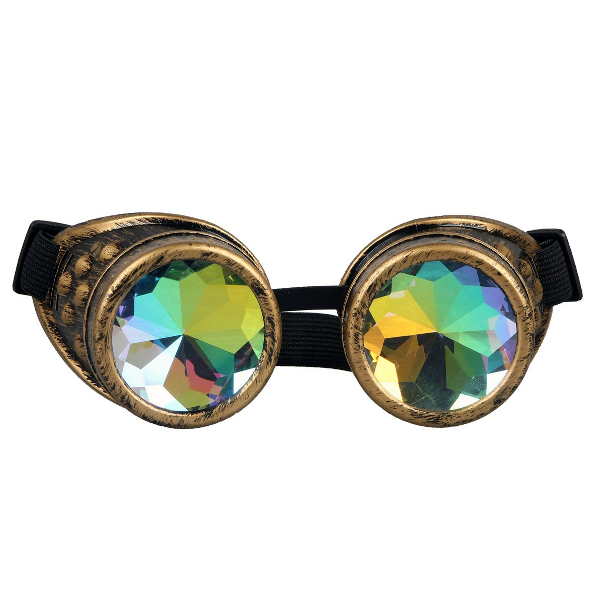Brasswithout Spiked 35 Days Delivery Kaleidoscope Rave Rainbow Crystal Lenses Steampunk Goggles