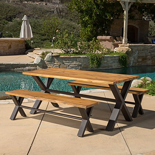 ece Acacia Wood Dining Set by Christopher Knight Home (Sanibel Metal)