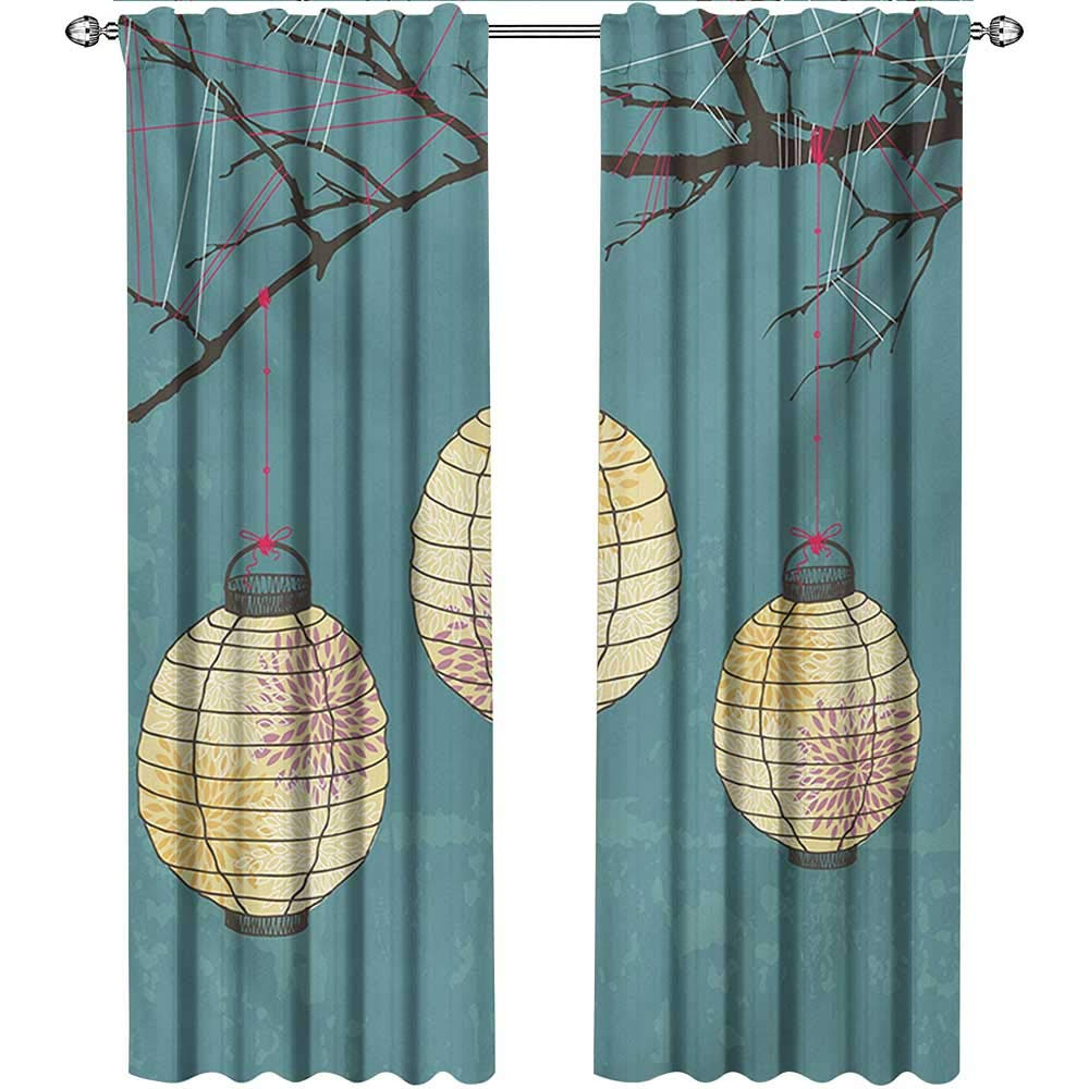 shenglv Lantern, Curtains Blackout 2 Panels, Three Paper Lanterns Hanging on Branches Lighting Fixture Source Lamp Boho, Curtains Kitchen, W96 x L108 Inch, Teal Pale Yellow