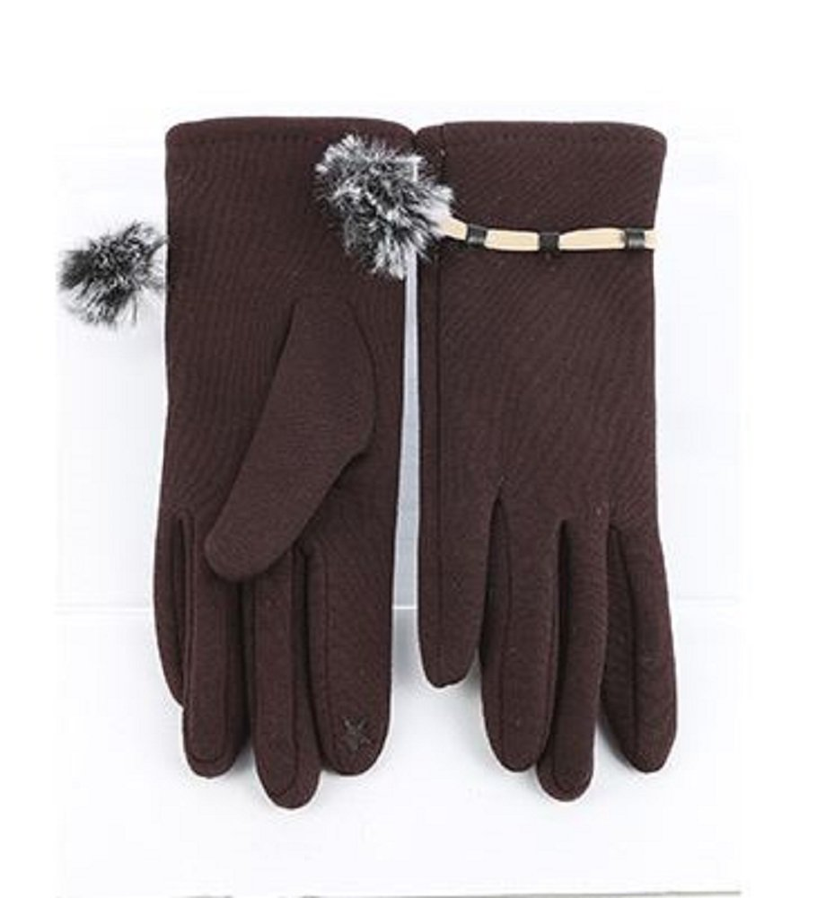RI001 Brown Fleece Lined Touchscreen Gloves