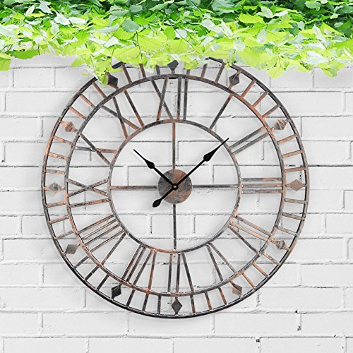 Large Outdoor Garden Wall Clock With Giant Open Face Big Roman Numerals 80CM (Giant Outdoor Wall Clock)