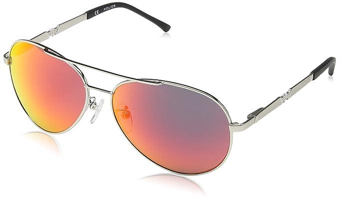 Police - Gafas de sol Aviador S8746 Legend 2, SH.PALLADIUM+SUNBL.