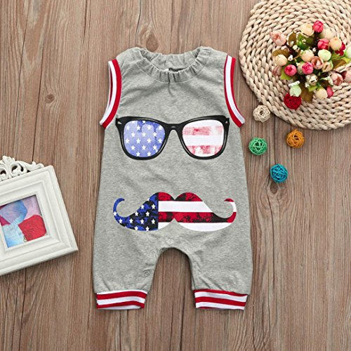 IEason Baby Clothes US Flag Newborn Toddler Baby Boy Kids Romper Jumpsuit Glasses Clothes Outfits