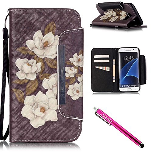 Price comparison product image Galaxy S7 edge Case, Firefish Kickstand Flip [Card Slots] Wallet Cover Double Layer Bumper Shell with Magnetic Closure Strap Case for Samsung Galaxy S7 edge-Begonia