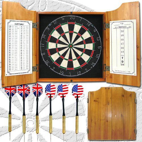 Deluxe Solid Wood Cabinet Complete Dart Set by tm global