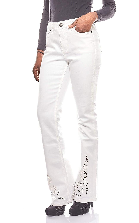 Arizona lässige Bootcut Damen Jeans mit Lochstickerei Jeans Hose Denim Weiß