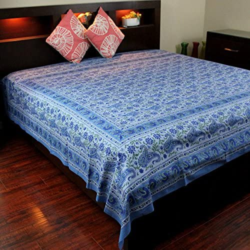 Homestead Rajasthan Paisley Block Print Tapestry-Bedspread-Wall hang-Blue