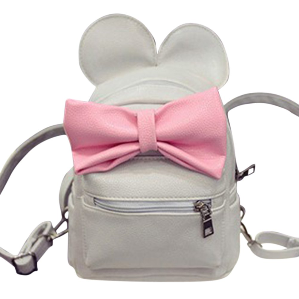 Stylish Women Mini PU Leather Backpack With Cute Mouse Ears and Bowknot School Backpacks Shoulder Bag for Girls